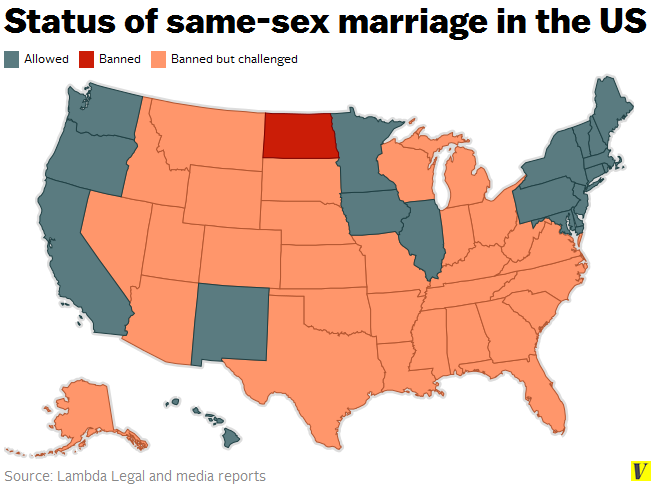 Same Sex Marriage Map, May, 2014